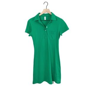 American Apparel Green Polo Collar Dress